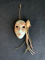 Vintage Hand-Painted Mardi Gras Ceramic Mask Wall Hanging