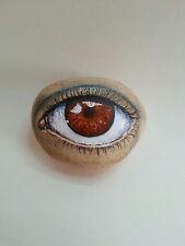 Original painting outsider Kaveman art painted rock Third Eye Stone