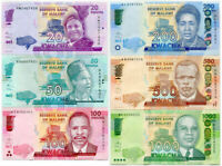 MALAWI SET 6 UNC 20 50 100 200 1000 KWACHA RANDOM DATE  P 57 - 63 NEW