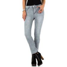 Skinny Röhren Jeans Straight Leg seitliche Knopfleisten Dark Denim Slim Fit