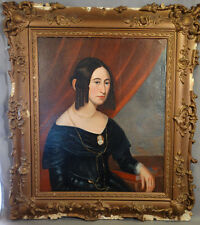 1840 Antique 19thC American EMPIRE LADY Cameo GOLD Jewelry PORTRAIT Oil PAINTING