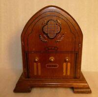 VTG Wooden Radio marked 1932 Bar Drink Coaster Set Holder HiMark Taiwan