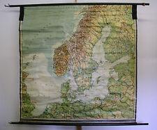 Schulwandkarte schöne alte Nordsee Ostsee London vor 1939 172x171cm vintage map