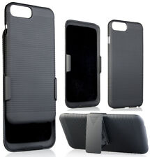 BLACK RIBBED HARD CASE COVER + BELT CLIP HOLSTER STAND FOR APPLE iPHONE 7/8 PLUS