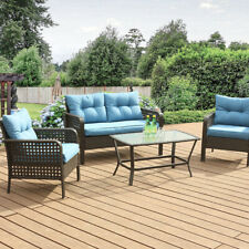 Outdoor Patio Furniture 4 PCS Rattan Sofa Wicker Chair Cushions Table Set Blue