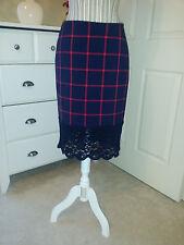 Michael Kors Macintosh Stretch Skirt Dark Blue/Crimson Plaid with Lace Sz 4 $150