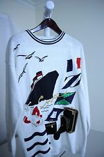 Unbranded Acrylic Blend Multi-Colored Boat Scene Crew-neck Sweater - Sz- XL