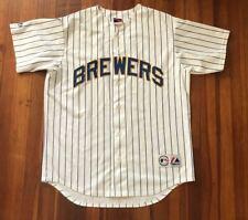 Milwaukee Brewers MLB Baseball Pinstripes Jersey Size Large