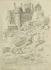 Original pen and Ink drawing print; Michaels Mount, signed Alfred Sharp