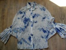 PAUL&JOE schöne Bluse Poncho-Stil m. Volants SHOGUN weiß blau Gr. 2 NEU KoS817