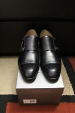 ANTONIO MAURIZI 41 BLACK LEATHER DOUBLE MONK STRAP SHOES LOAFERS MADE IN ITALY