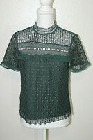 ZARA WOMAN Womens Sz S Pine Green Lace Embroidered Ruffled Blouse Top