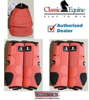 CLASSIC EQUINE Front Rear Legacy MEDIUM Coral Horse Sport Leg No Turn Bell Boots