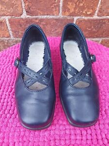 """Navy Small Wedge """"Melody"""" Buckle Shoes by Hotter, Size 4"""