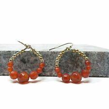 NOS Avon Semi Precious Carnelian Dangle Hoops Earrings w/box
