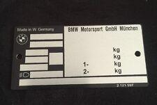 BMW M3 E30 vin plate Typenshild (alpina rennsport ti body part)