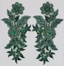Handmade Venise Lace Sequins Applique Trim Motif  M Green #13