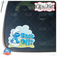 "Grouchy Smurf""Back Off!"" Vinyl Decal Sticker for Cars/Trucks"