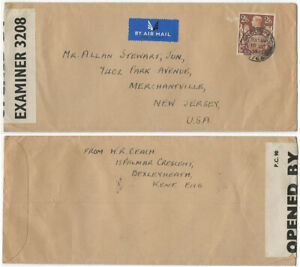 GB KGVI WW2 1941 Censored Airmail cover London to New York High Value 2/6d