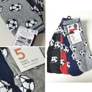 New Boys Socks 5 Pack Ex M&S Cool & Freshfeet Age 2 to 16 Years Football Design