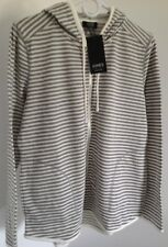 New Jones New York Signature Striped Zip Front Hoodie Jacket Gray White S L XL