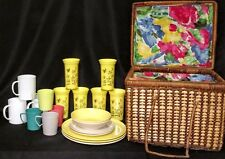 Vintage Wicker Picnic Basket With Dishes Floral Cloth Liner