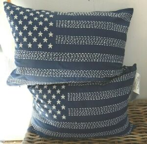 PAIR SET RALPH LAUREN NWT NEW CROSS STITCHED EMBROIDERED FLAG PILLOWS