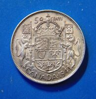CANADA 1944 narrow date med 4 silver half dollar fifty 50 cents cent piece B