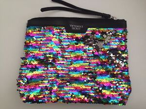 VICTORIA'S SECRET Limited Edition Rainbow Sequins Clutch - Silver Sequins Dog