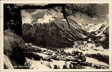 Pontresina Graubünden Schweiz s/w AK 1930 gelaufen Panorma im Winter Schnee Berg