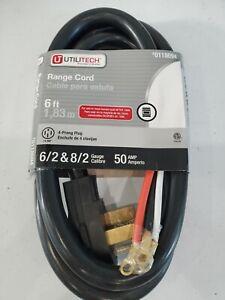 New Utilitech 6ft Range Cord 6/2 & 8/2 Gauge 50 Amp 4-Wire/Prong #0118694