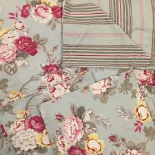 ❤️ POTTERY BARN King Duvet 2 Euro Shams Reversible Cottage Floral Stripe