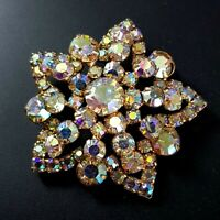 Vintage Costume Brooch Large Iridescent Crystals Glass Czech Mid-century HUGE