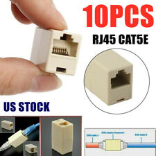 8x RJ45 8P8C Straight Inline Coupler Connector Ethernet Network LAN Cable Beige