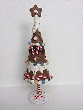 """10"""" GINGERBREAD TREE FAKE CANDY CANE XMAS DECOR ICING STAR PEPPERMINT GIFT"""