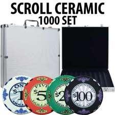 Scroll 10 gram Ceramic Poker Chip Set 1000 with Aluminum Case
