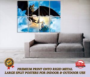 How to Train Your Dragon LARGE METAL Poster Wall Art Print Split Section A1