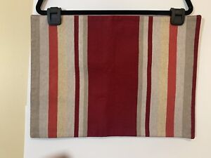 10 CRATE & BARREL PLACEMATS -  hues red orange  Beige  woven  multi stripe A++