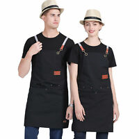 2pcs Men Women Chef Adjustable Cooking Apron with Pockets For Kitchen Restaurant