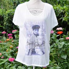 TOP tunique tee shirt Femme Grande Taille 54 56 Blanc Bleu océan  ZAZA2CATS new