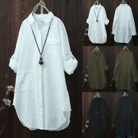 Women Oversized Long Sleeve Tops Shirt Casual Loose Boyfriend Work Mini Dress N
