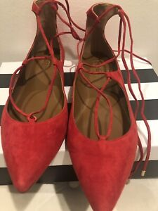 aquazzura Red Suede Lace Up Shoe Made In Italy Women Size 41 Fit Like Size 40