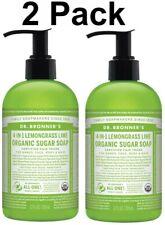 (2) Dr Bronners Lemongrass Lime Organic Sugar Soap Hand, Face, Body & Hair 12 oz
