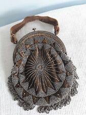 Sac ancien, aumônière ancienne ;perles d'acier facettées .Années 1920