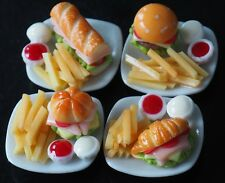 MINIATURES 4 FOOD PLATES HAM CHEESE BURGERS PUFF PASTRY SUBWAY FRENCH FRIES