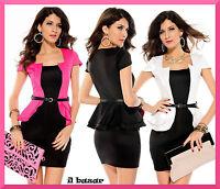 vestito donna mini abito Peplum Dress cinturino colori: bianco,rosa,nero tg u