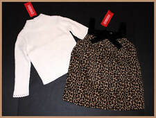 NWT Gymboree Glamour Kitty Leopard Velvet Bow Girls Dress & Cream Sweater 2T 2 3