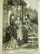 Jules Tavernier 1872 SEPTEMBER BIRTHDAY 3 LADIES CHATTING IT UP Engraving Matted