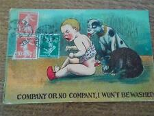 Comic Humour 1912 Postcard Young Child Boy being licked by Pets Dog & Cat SEINE