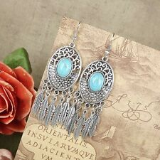 Dangle Earring Turquoise Tibetan Silver Leaves Pendants Earring Fit Women Party
